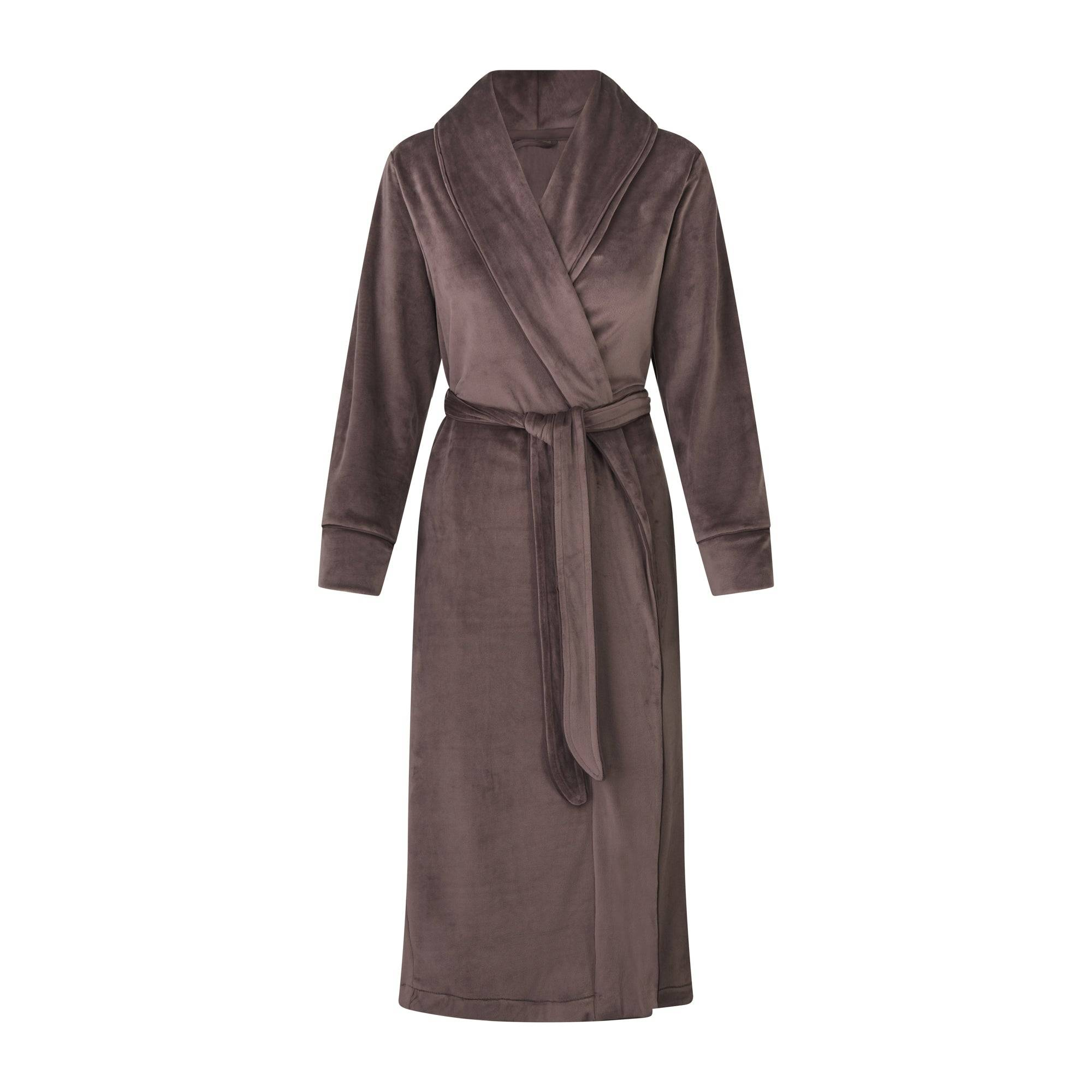 SKIMS Women's Velour Long Robe - Brown - Size XS; Brown
