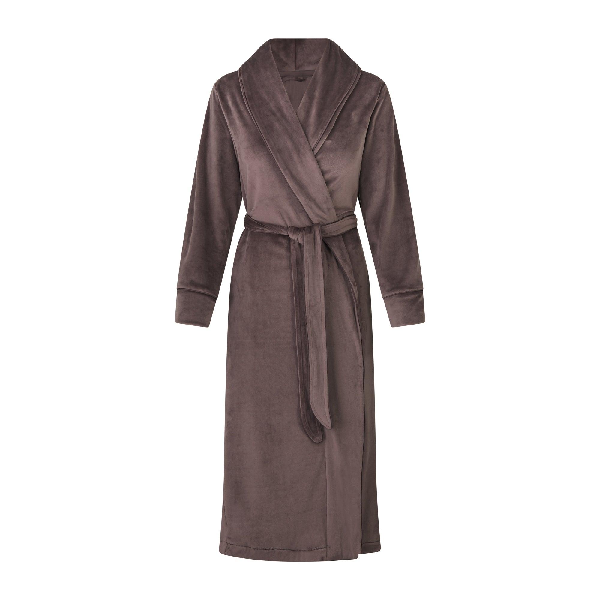 SKIMS Women's Velour Long Robe - Brown - Size 2XL; Brown