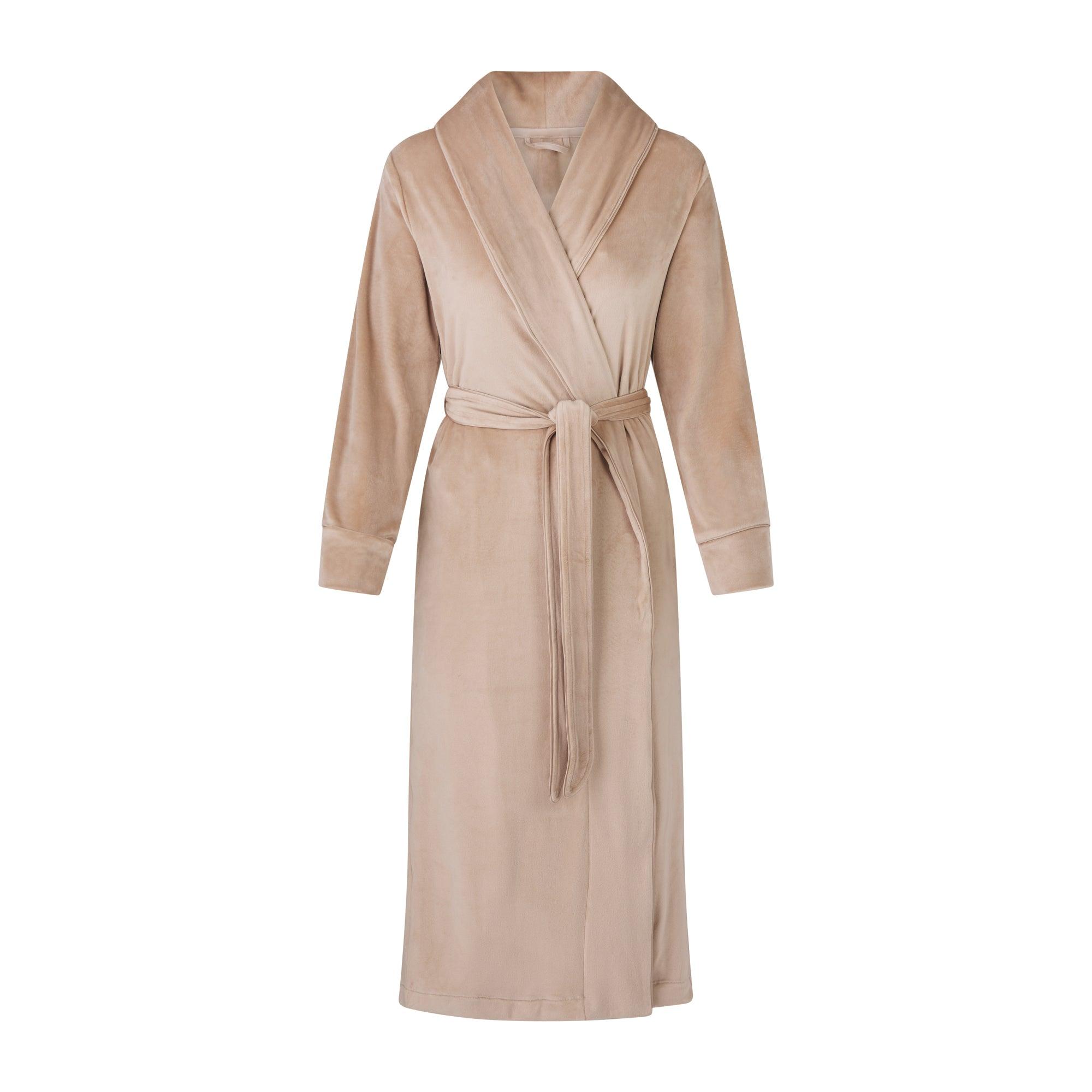 SKIMS Women's Velour Long Robe - Nude - Size XXS; Nude