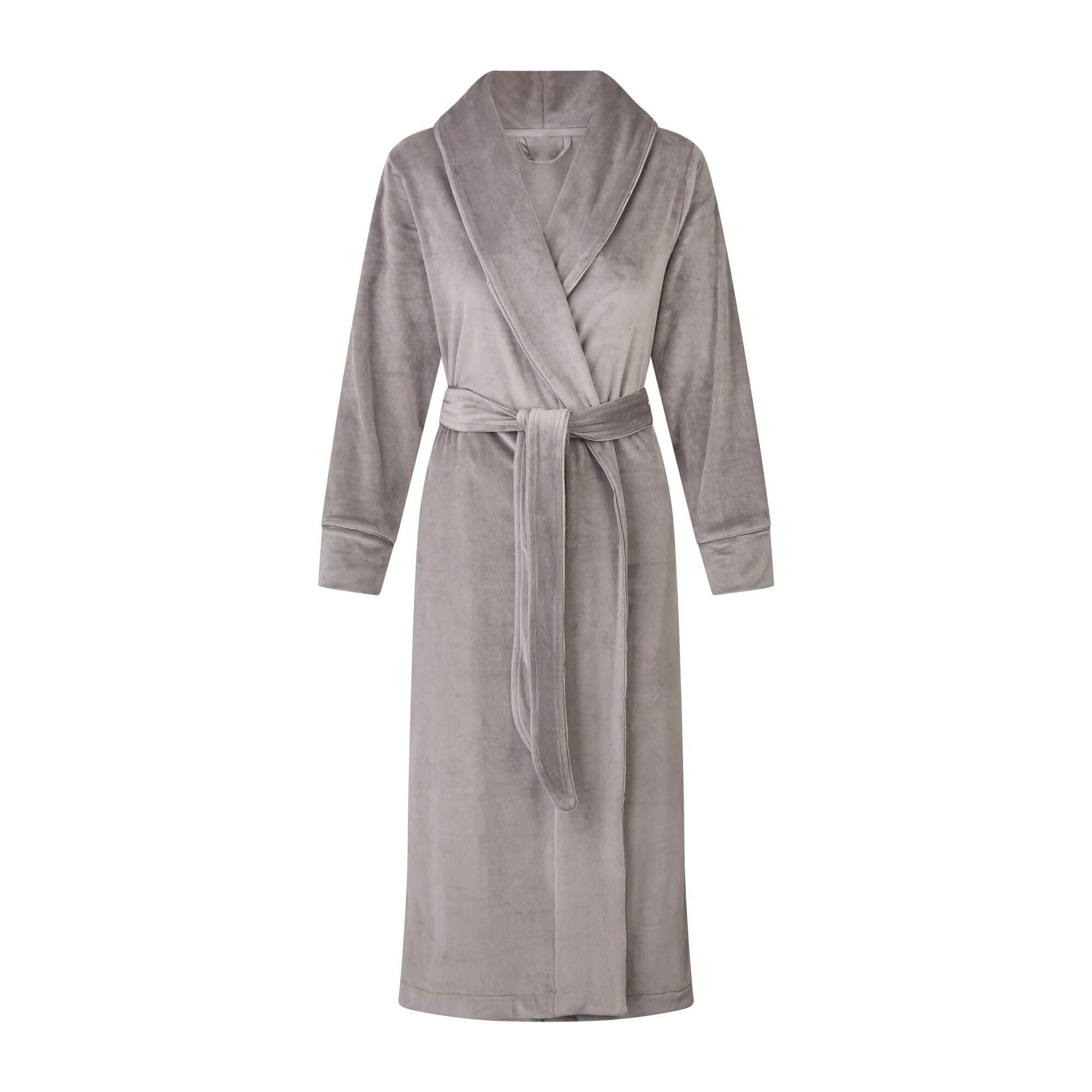 SKIMS Women's Velour Long Robe - Gray - Size XXS; Gray