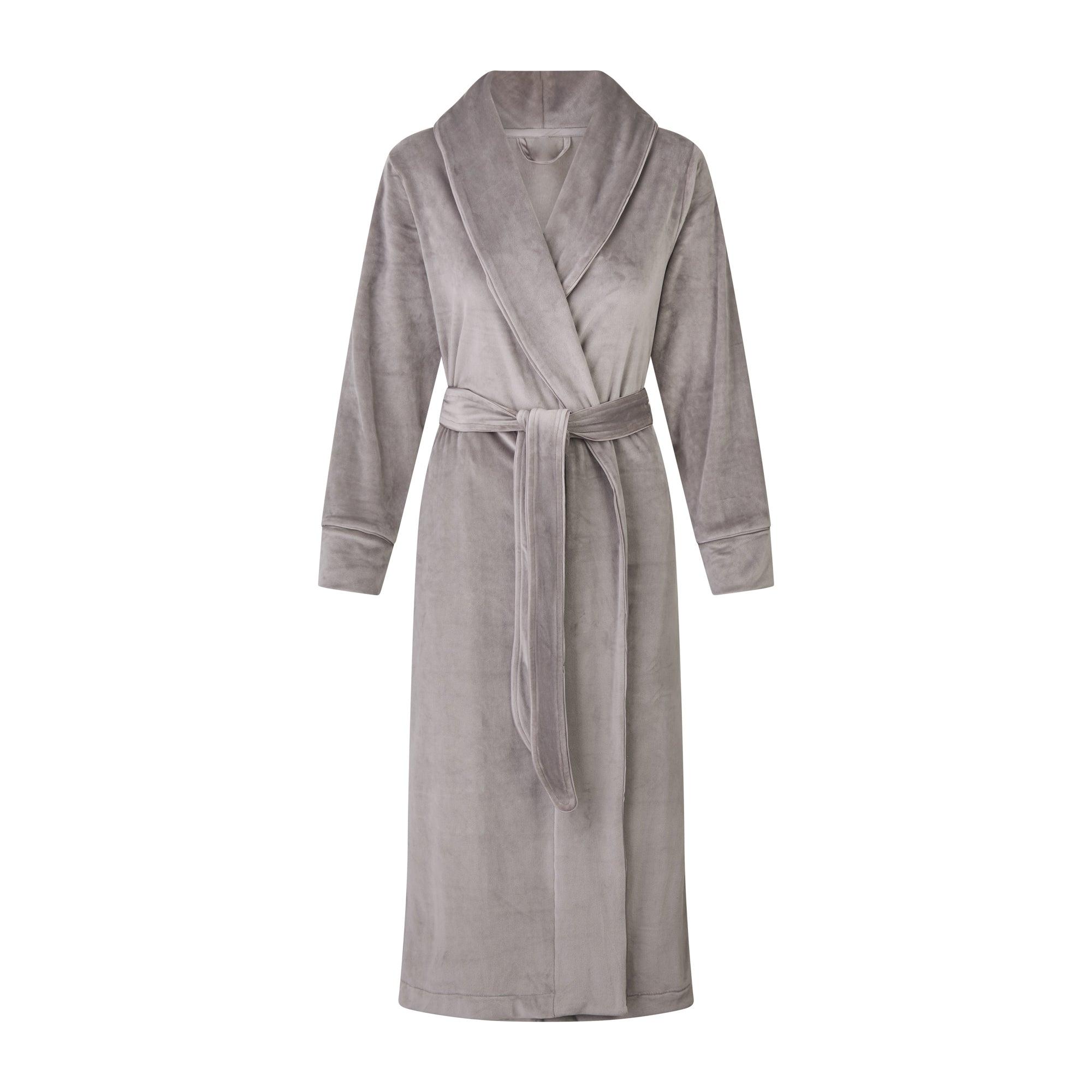 SKIMS Women's Velour Long Robe - Gray - Size S; Gray