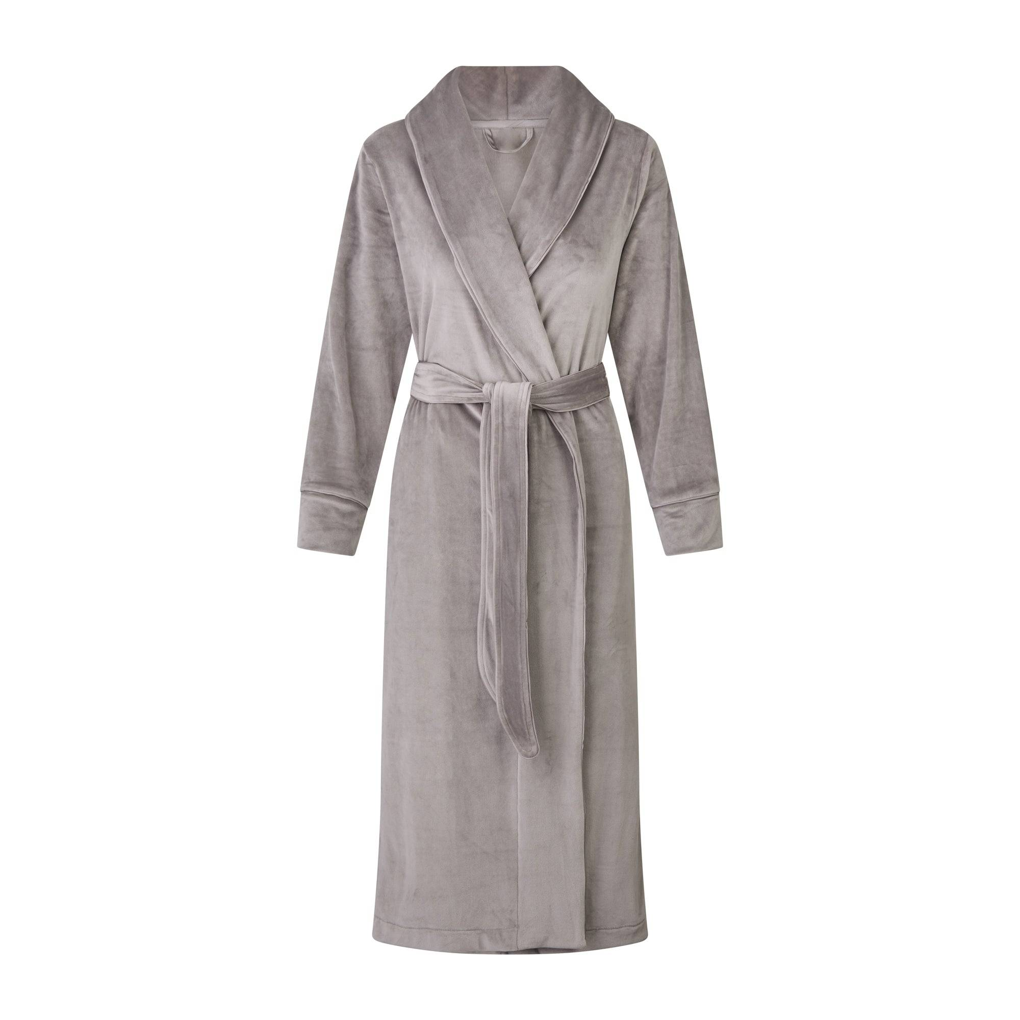 SKIMS Women's Velour Long Robe - Gray - Size L; Gray