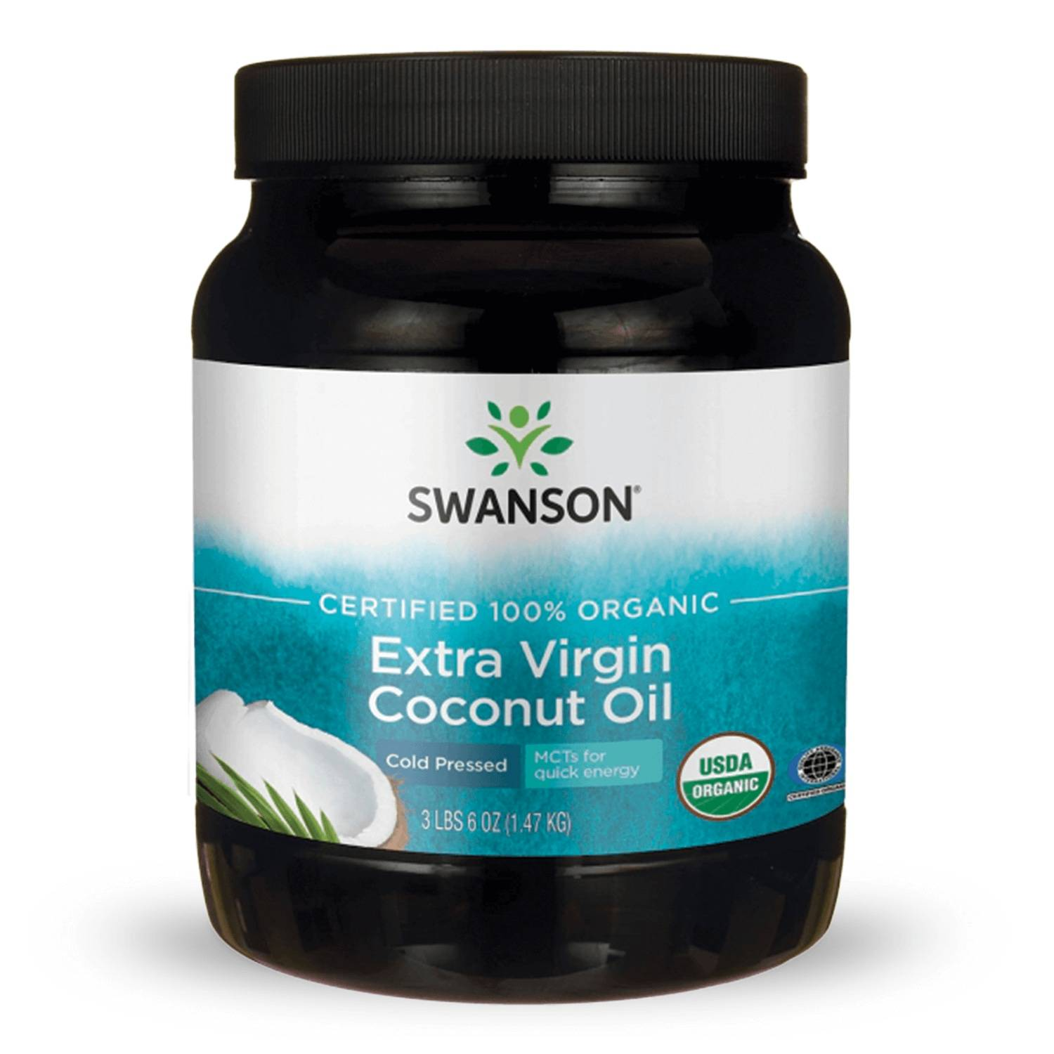 Swanson Organic Certified 100% Extra Virgin Coconut Oil - Cold Pressed 3 lb 6 oz Solid Oil Essential Fatty Acids
