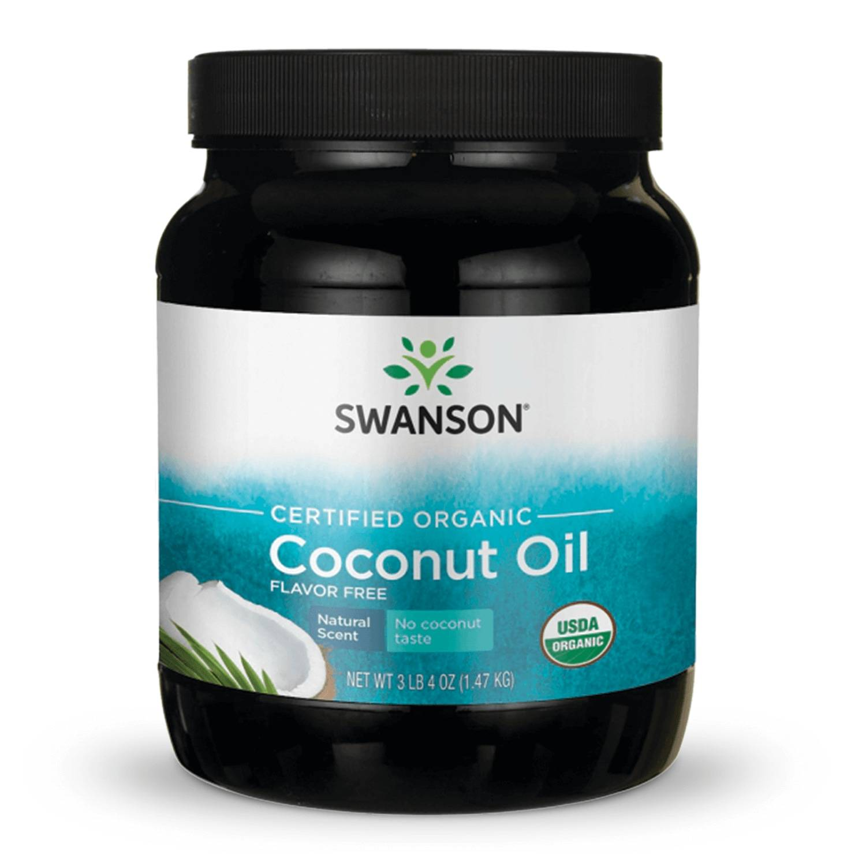 Swanson Organic Certified Coconut Oil Flavor Free 3 lb 4 oz Solid Oil Essential Fatty Acids
