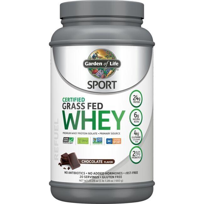 Garden of Life Sport Certified Grass Fed Whey Protein - Chocolate 23.7 oz Powder