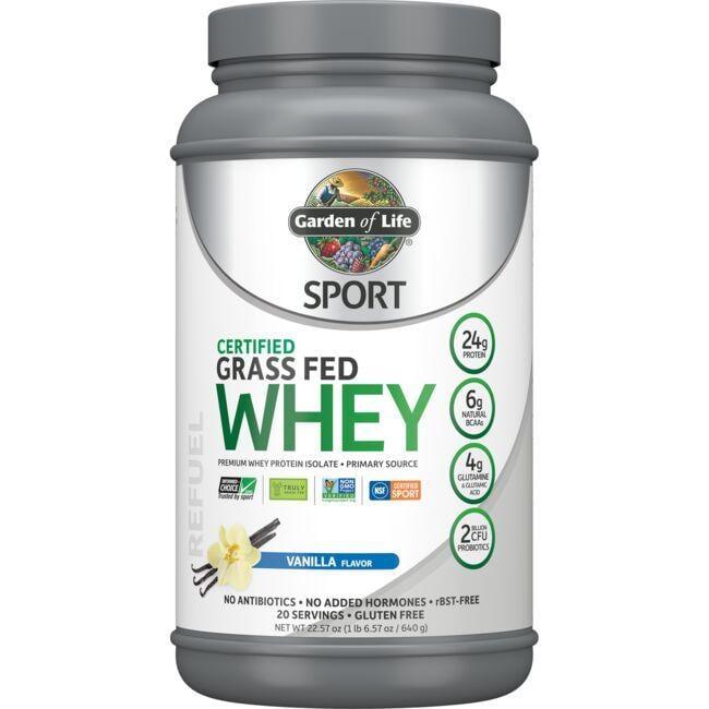 Garden of Life Sport Certified Grass Fed Whey Protein - Vanilla 23 oz Powder