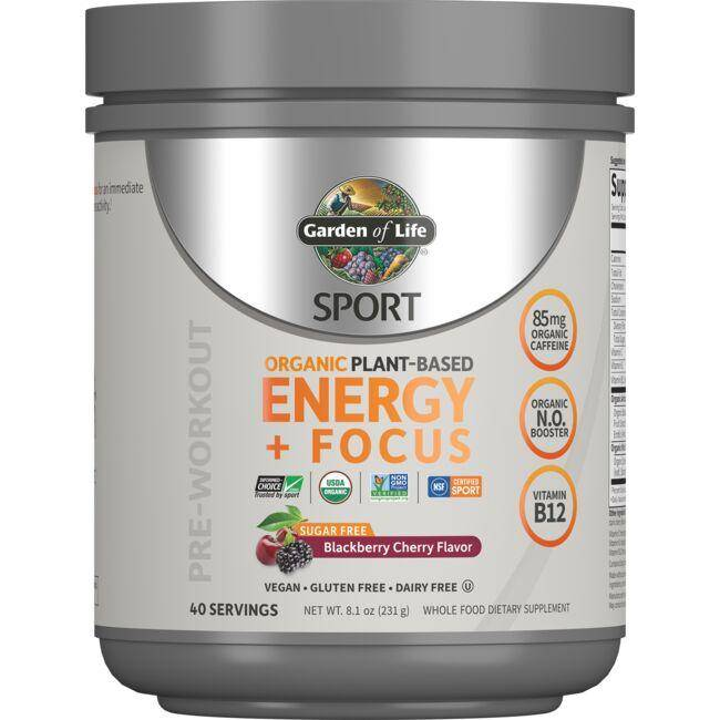 Garden of Life Sport Organic Plant-Based Energy + Focus - Blackberry Cherry 8.1 oz Powder