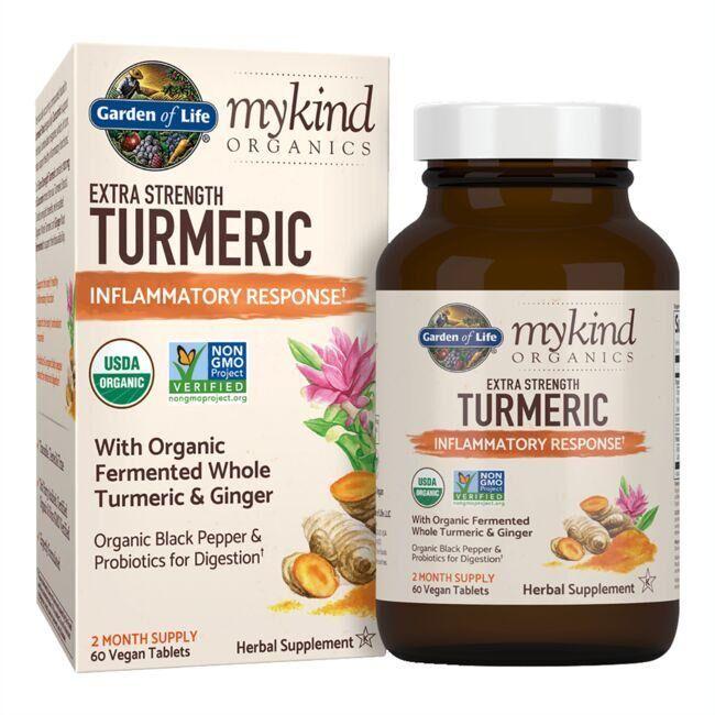 Garden of Life mykind Organics Extra Strength Turmeric Inflammatory Response 60 Vegan Tabs Herbs and Supplements