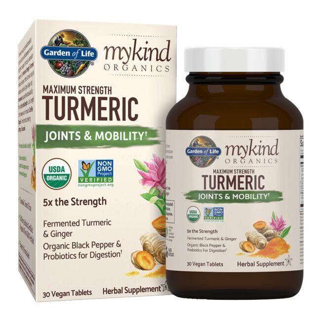 Garden of Life mykind Organics Maximum Strength Turmeric Joints & Mobility 30 Vegan Tabs Joint Health