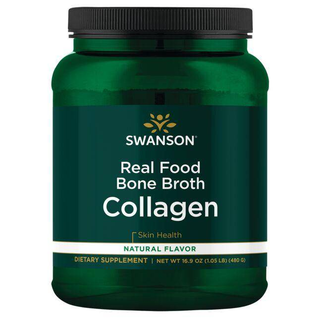 Swanson Ultra Real Food Bone Broth Collagen - Natural Flavor 16.9 oz Powder Joint Health