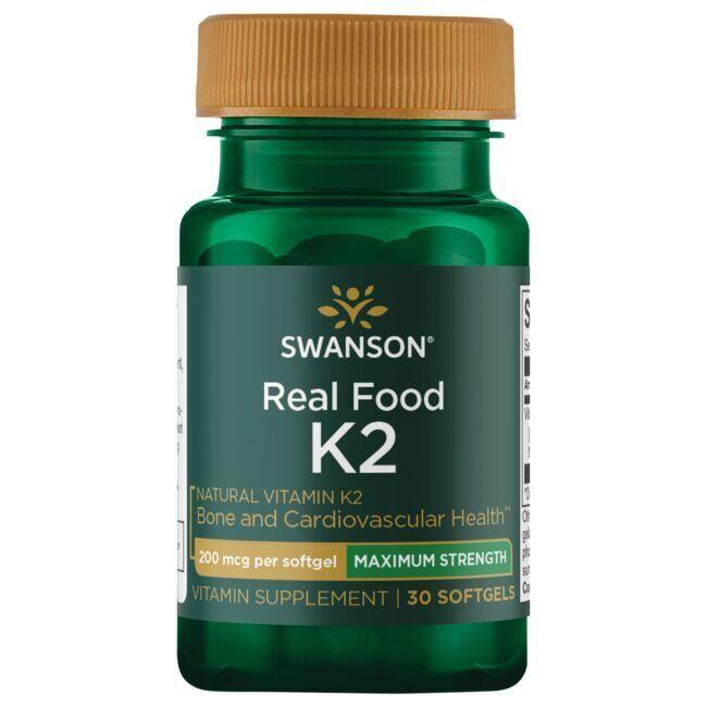Swanson Ultra Real Food Vitamin K2 - Maximum Strength 200 mcg 30 Soft Gels Bone Health