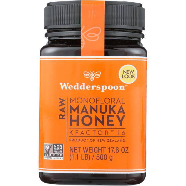 Wedderspoon Raw Monofloral Manuka Honey Kfactor 16 17.6 oz Jar