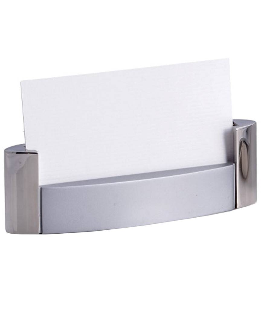Bey-Berk Shiny & Satin Finished Silver Plated Business Card Holder