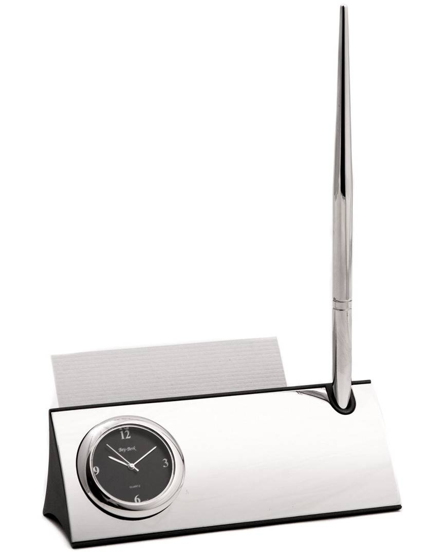 Bey-Berk Silver Plated Desk Quartz Clock with Business Card