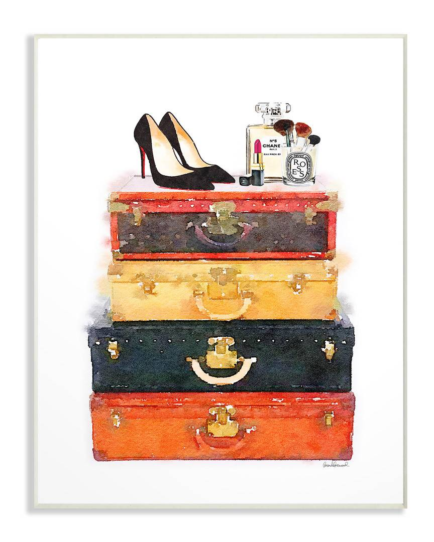 """Stupell Luggage Stack Shoes And Makeup by Amanda Greenwood - Size: 10"""" x 1"""" x 15"""""""