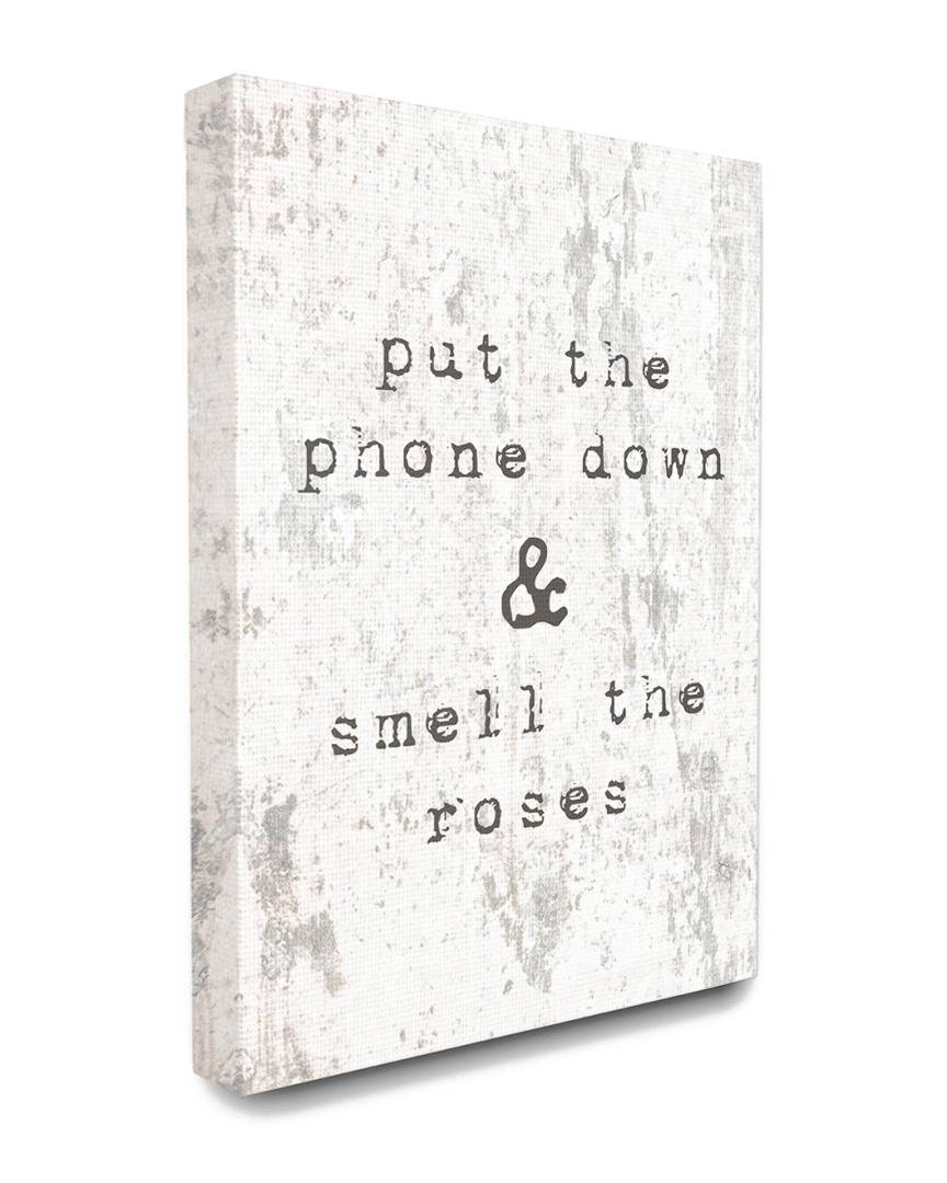 """Stupell Put Phone Down Smell Roses Typography - Size: 24"""" x 30"""""""