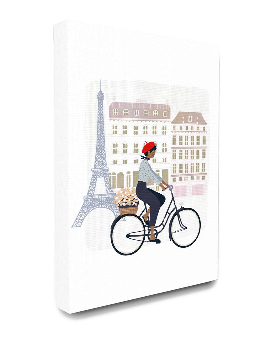 """Stupell The Stupell Home Decor Collection Eiffel Tower Scene Paris Man in a Beret Riding His Bike - Size: 24"""" x 30"""""""