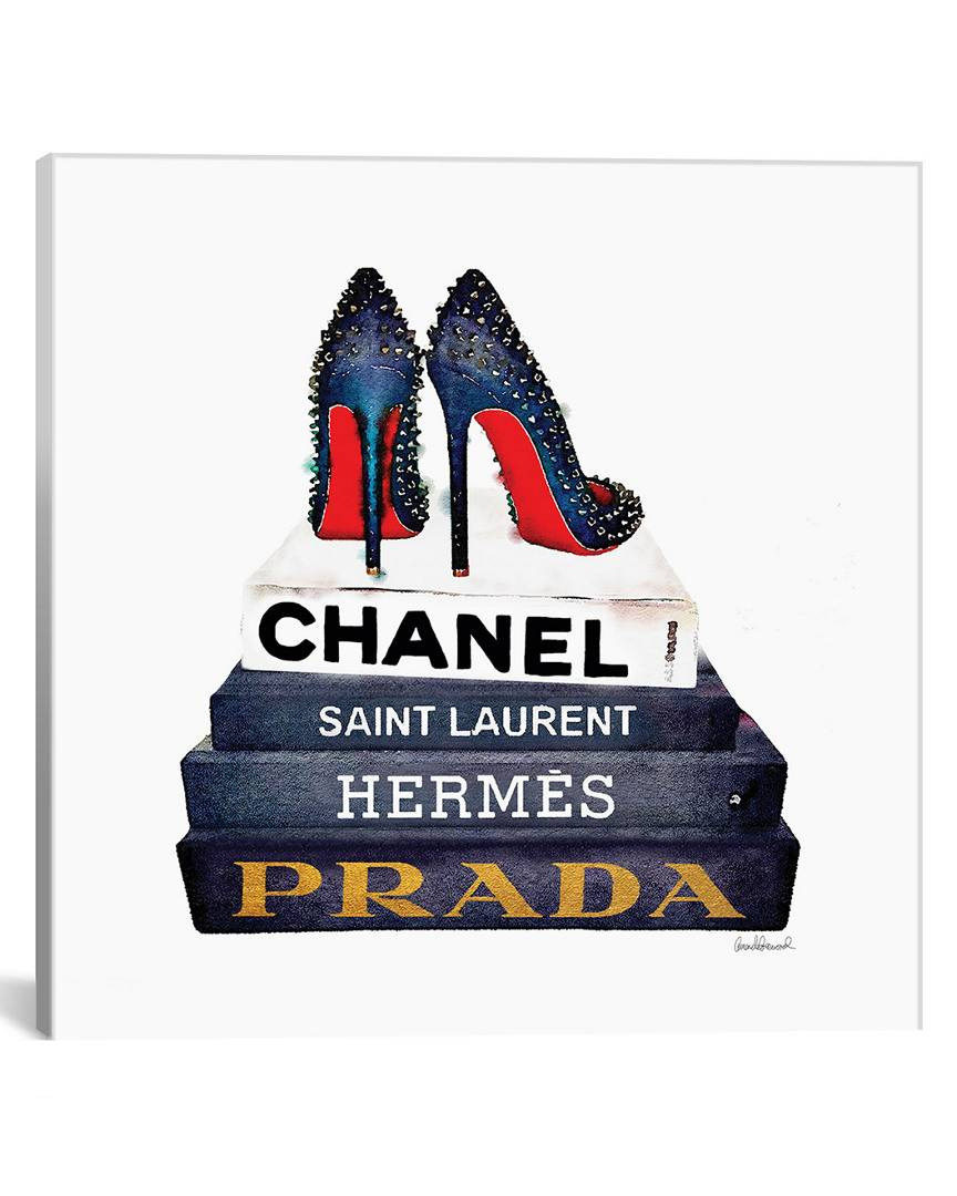 """iCanvas iCanvas Stack Of Fashion Books With Spiked Shoes by Amanda Greenwood - Size: 18"""" x 18"""""""