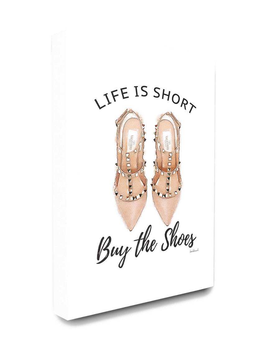 """Stupell The Stupell Home Decor Collection Black and Peach Pink Life Is Short Buy The Shoes Typography - Size: 24"""" x 30"""""""