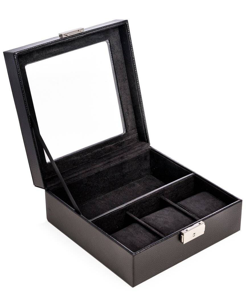 Bey-Berk Black Leather Watch And Accessory Case - Black