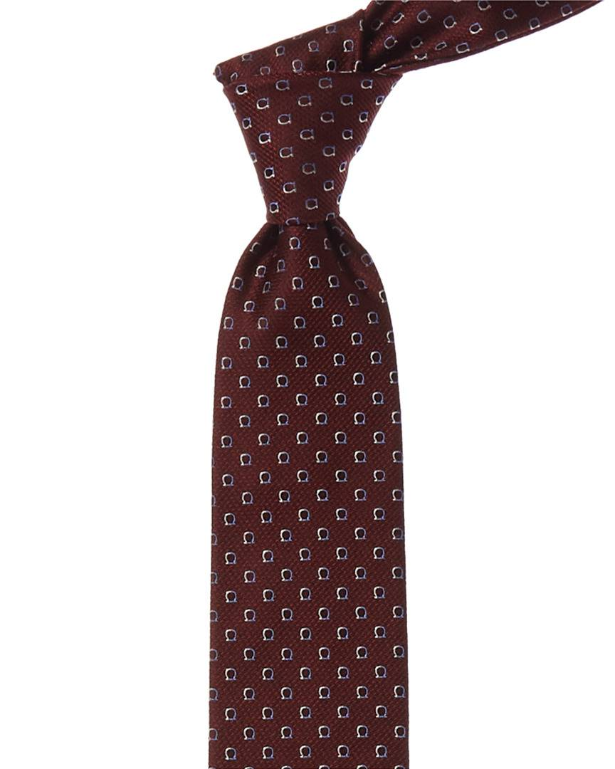 Salvatore Ferragamo Bordeaux Gancini Silk Tie