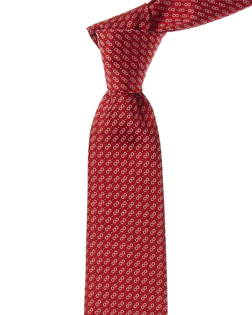 Salvatore Ferragamo Red Gancini Silk Tie