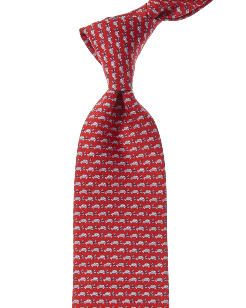 Salvatore Ferragamo Red Cars Silk Tie
