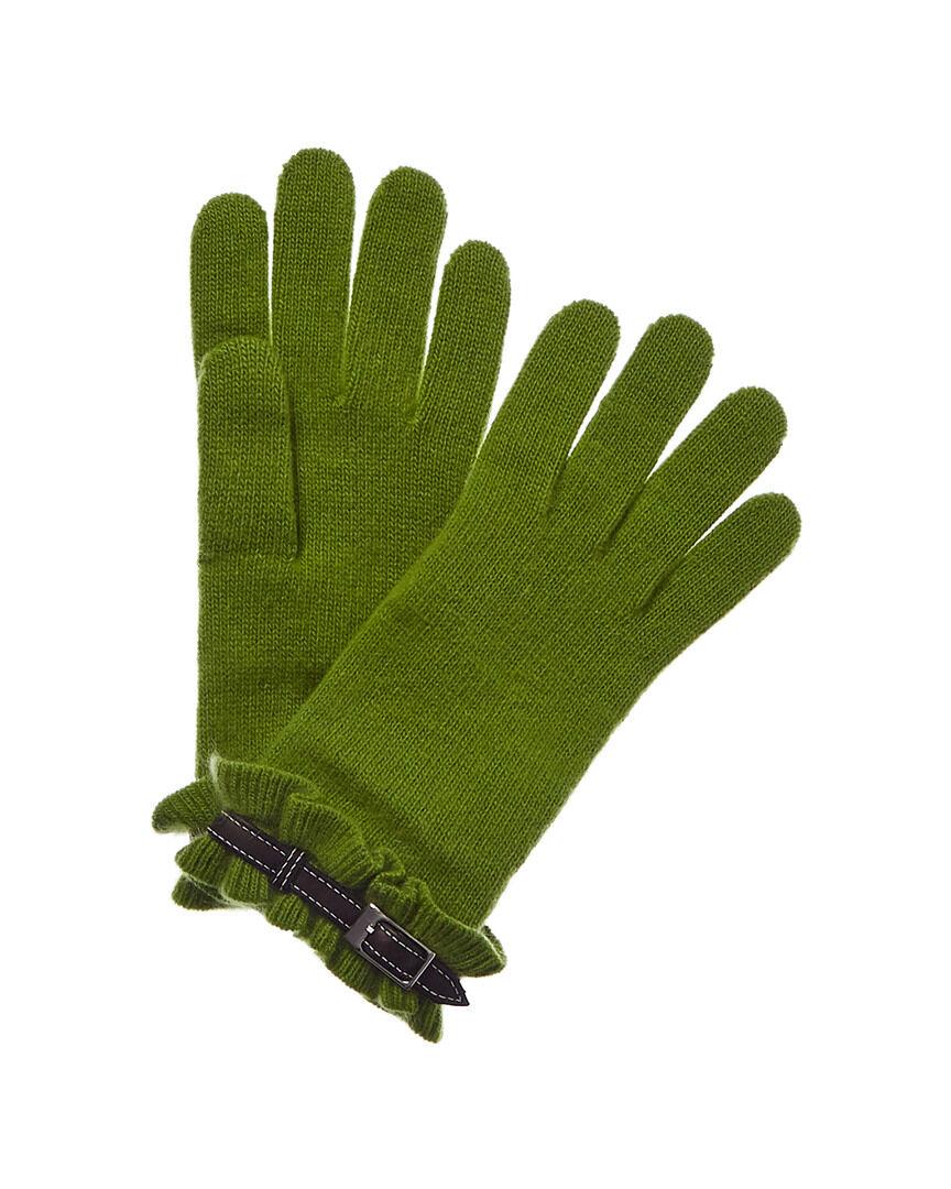 Portolano Leather-Trim Cashmere Gloves