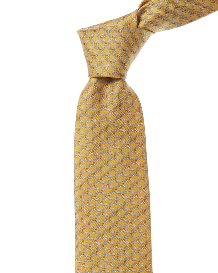 Salvatore Ferragamo Yellow Snail Silk Tie
