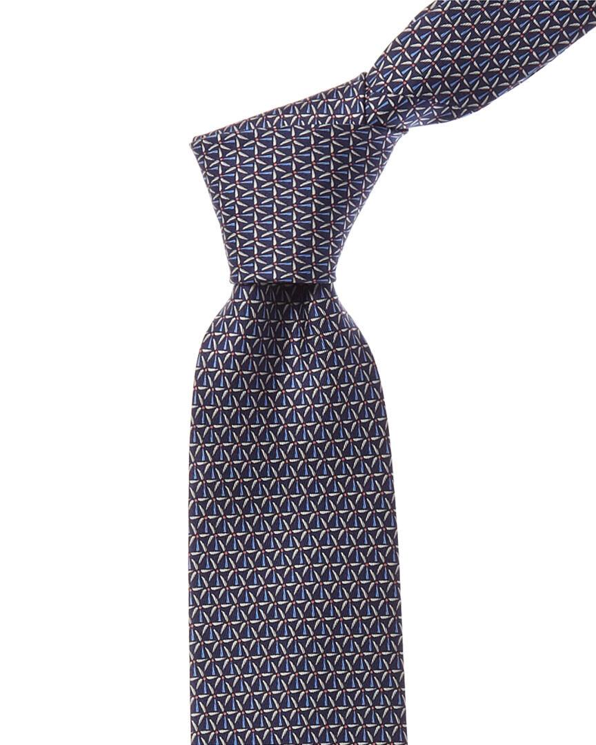 Salvatore Ferragamo Navy Turbine Silk Tie