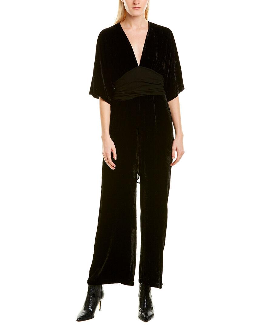 YFB Clothing Young Fabulous & Broke Velvet Silk-Blend Jumpsuit - Black - Size: S
