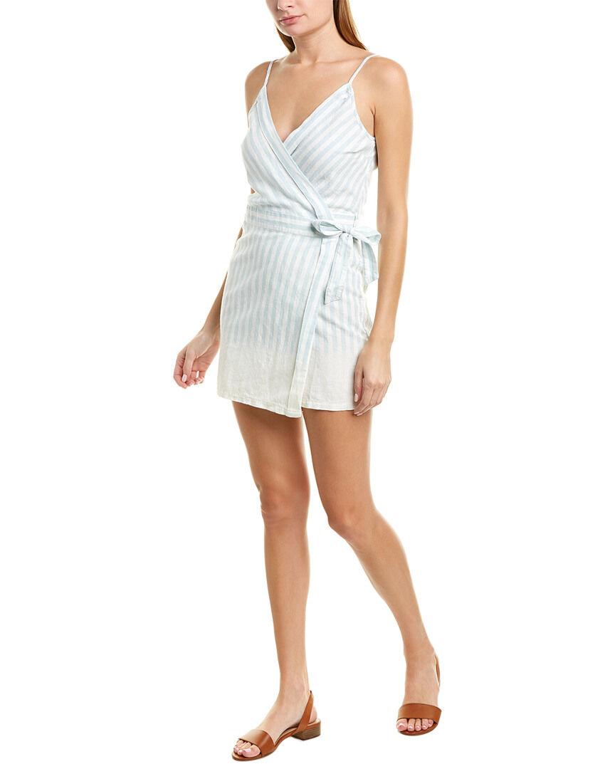 YFB CLOTHING Alberta Linen-Blend Wrap Dress - Blue - Size: S