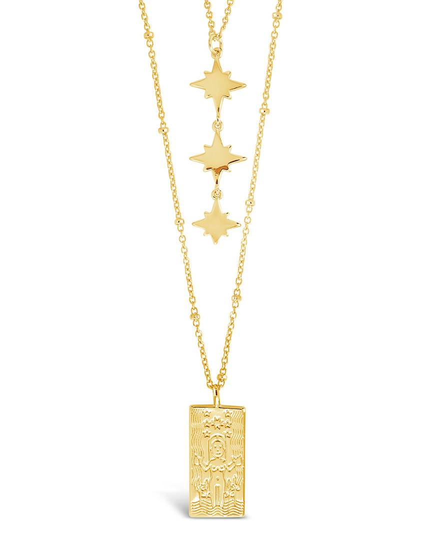 Sterling Forever 14K Plated Tarot Card & Triple Star Necklace