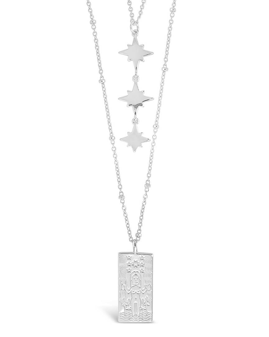 Sterling Forever Tarot Card & Triple Star Necklace