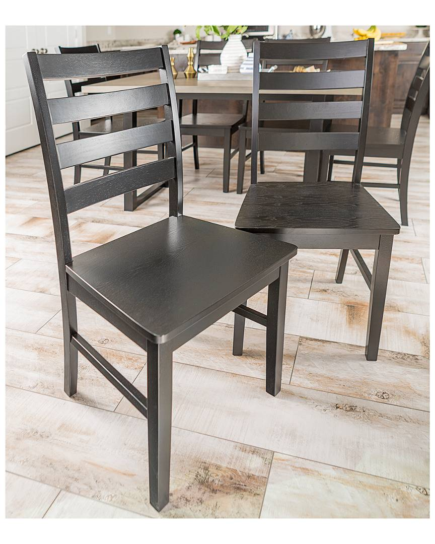 Hewson Set of 2 Hewson Solid Wood Ladder Back Kitchen Dining Chairs