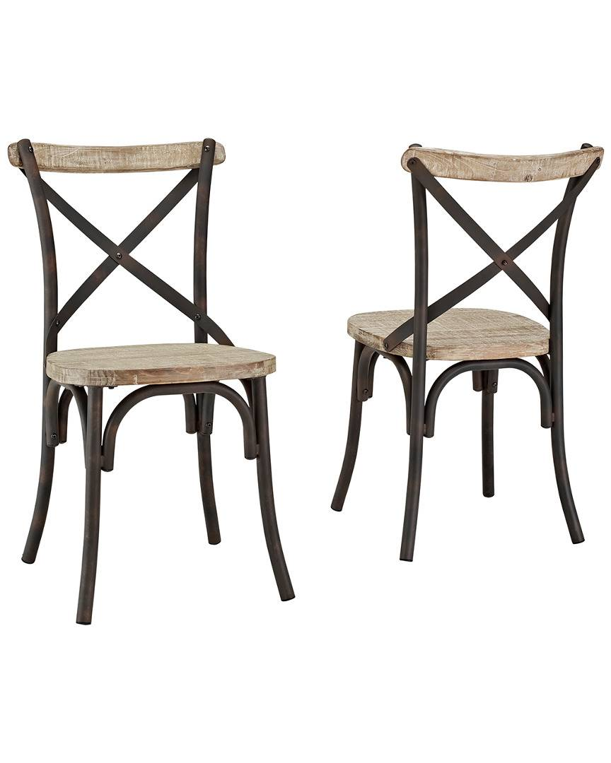 Hewson Set of 2 Hewson Industrial X-Back Kitchen Dining Chairs
