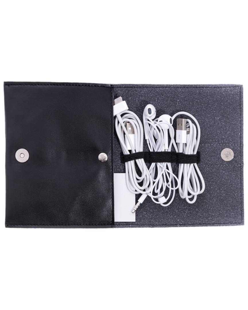 Bey-Berk Leatherette Travel Charger Case & Accessories Pouch