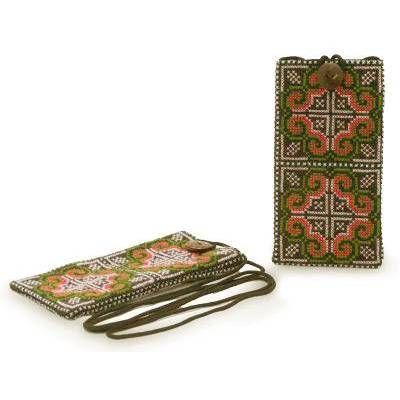NOVICA 'Distant Lands' (pair) - Hill Tribe Cotton Embroidered Cell Phone Cases