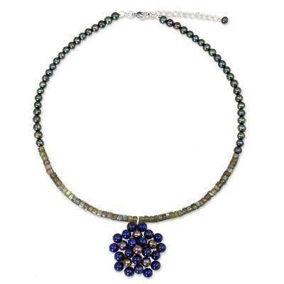 NOVICA Cultured pearl and lapis lazuli pendant necklace, 'Blue Garden'