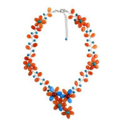 NOVICA Carnelian and calcite beaded necklace, 'Sweet Garden'