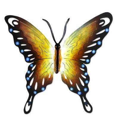 NOVICA 'Soul of Happiness' - Hand Made Orange Butterfly Steel Wall Sculpture Mexico