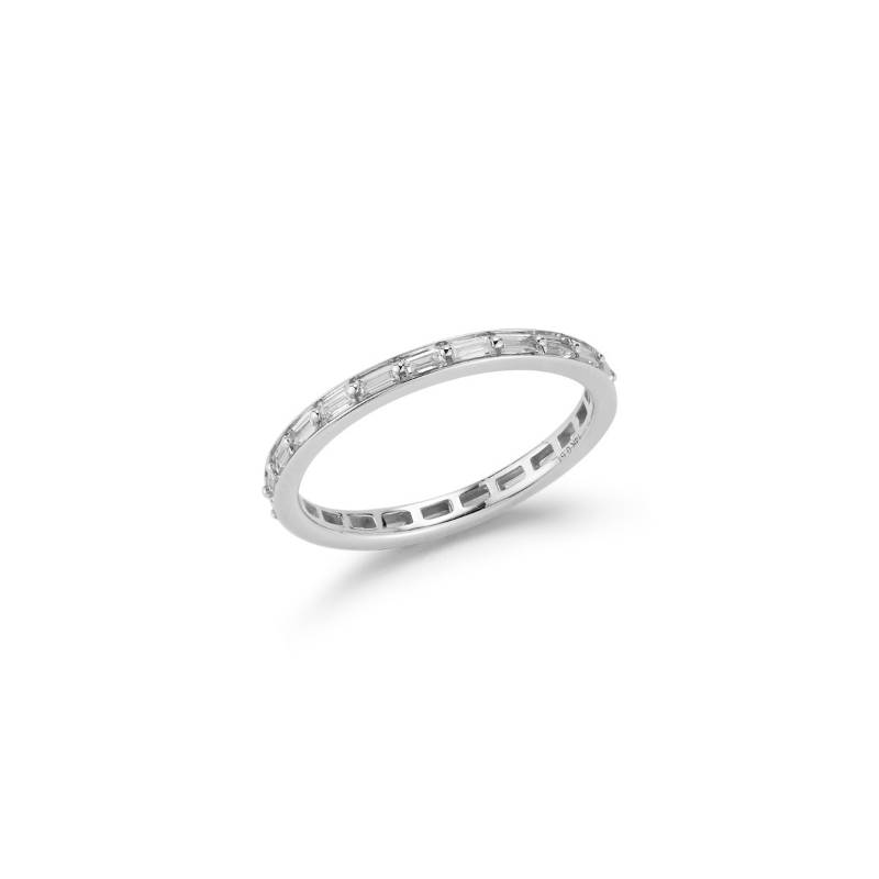 Dana Rebecca Designs Sadie Pearl Channel Set Baguette Eternity Ring
