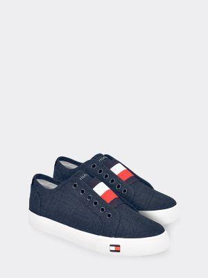 Tommy Hilfiger Women's Canvas Laceless Sneaker Blue/Signature - 6