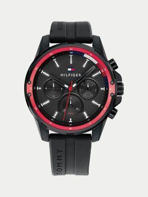 Tommy Hilfiger Men's Multi-Function Sport Watch Wi Black Silicone Strap Black -