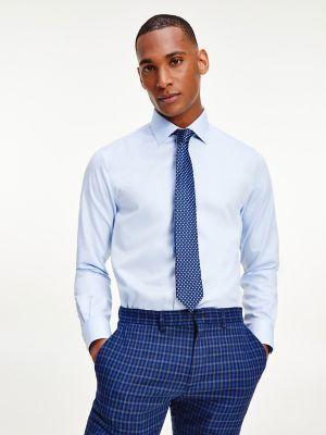 Tommy Hilfiger Men's Regular Fit Non-Iron Dobby Dress Shirt Light Blue/ White - 17