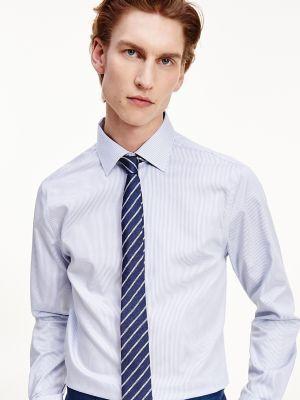 Tommy Hilfiger Men's Regular Fit Non-Iron Twill Dress Shirt Blue/ White/ Grey - 16
