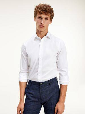 Tommy Hilfiger Men's Regular Fit Non-Iron Dress Shirt White - 15.75