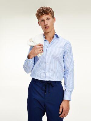 Tommy Hilfiger Men's Regular Fit Non-Iron Stripe Dress Shirt Blue/White - 15