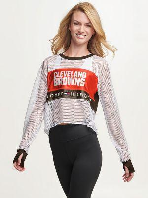 Tommy Hilfiger Women's Cleveland Browns Mesh Crop Top Brown/Cleveland Browns - S