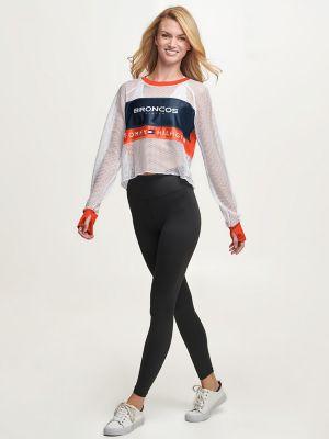 Tommy Hilfiger Women's Denver Broncos Mesh Crop Top Orange/Denver Broncos - M